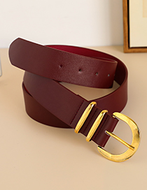 Fashion Red Alloy Pu Half Round Head Belt