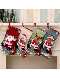Fashion Bear Linen Santa Christmas Stocking Gift Bag