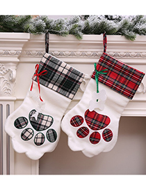 Fashion Red Dog Paw Christmas Sock Bag Tree Pendant