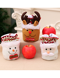 Fashion Deer Christmas Old Man Snowman Candy Apple Closing Gift Bag