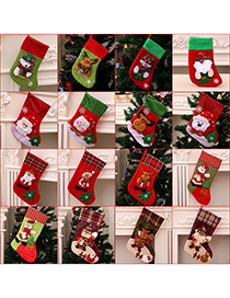 Fashion Burlap Fence Hoop (bear) Christmas Old Man Snowman Bear Christmas Stocking