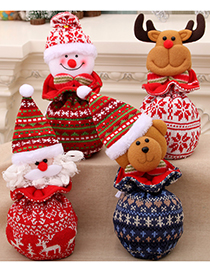 Fashion Bear Christmas Knitted Yarn Closure Apple Bag