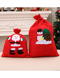 Fashion Large 40*60cm (random Pattern) Christmas Non Woven Fabric Santa Handmade Applique Backpack Gift Bag