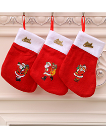 Fashion Red Christmas Non-woven Socks Gift Bag