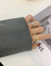Fashion Silver Lines Combined With Gold Ring