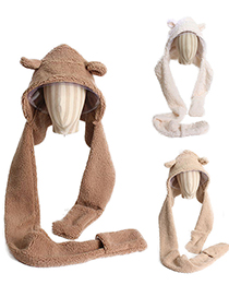Fashion Beige Bear Lamb Wool Scarf One-piece Hat