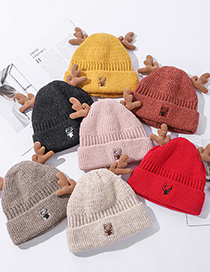 Fashion Pink Animal Embroidered Antler Wool Hat