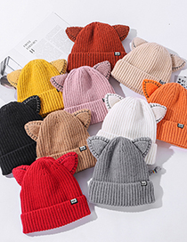 Fashion Pink Cat Ear Cloth Label Knitted Woolen Hat