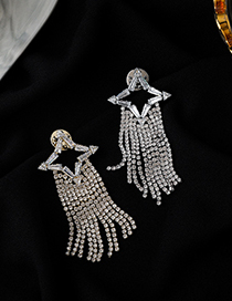 Fashion Silver Geometric Brooch With Diamonds And Star Tassels