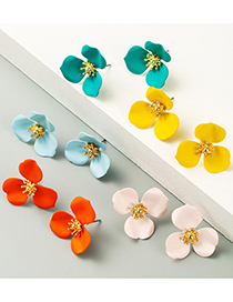 Fashion Yellow Flower Alloy Spray Paint Earrings