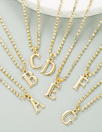 Fashion A Golden Alloy Claw Chain With Diamond Letter Pendant Necklace