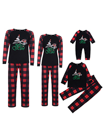Fashion Childrens Christmas Hat Letter Printing Home Wear Pajamas Parent-child Wear