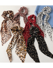 Fashion Coffee Color Knotted Snake Print Leopard Print Streamer Large Intestine Circle Hair Rope