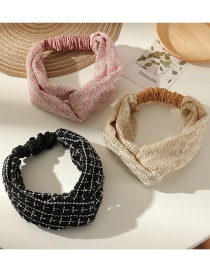 Fashion Beige Checked Cross-knotted Elastic Headband