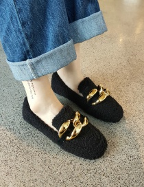 Fashion Black Lamb Wool And Velvet Flat Beanie Shoes With Chain