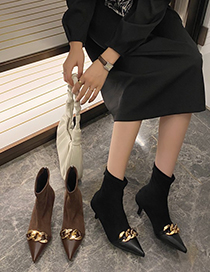 Fashion Black Plus Velvet Pointed Mid Heel Stretch And Velvet Chain Ankle Boots