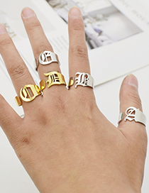 Fashion Gold Color W Ancient English Letter Hollowed Titanium Steel Ring
