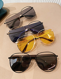 Fashion Ocean Yellow Alloy Hollow One-piece Sunglasses