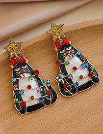 Fashion Color Alloy Diamond Five-pointed Star Totoro Earrings