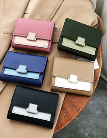 Fashion Lotus Color Short Wallet With Contrast Stitching Lock