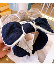 Fashion Navy Blue Bowknot Hit Side Fabric Wide-brimmed Headband