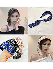 Fashion Black Letter Printed Knitted Fluttering Headband