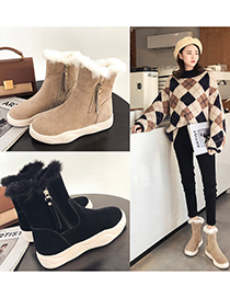 Fashion Black Flat And Velvet Round Toe Snow Boots