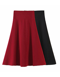 Fashion Black Solid Color Waist Skirt With Eyelet Straps