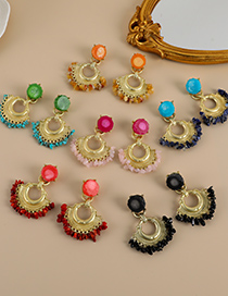 Fashion Green Alloy Resin Geometric Shape Earrings