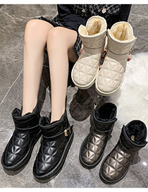Fashion Black Flat Leather Snow Boots With Velvet Belt Buckle