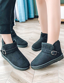 Fashion Black Belt Buckle And Velvet Warm Mens Snow Boots