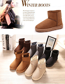 Fashion Black Platform And Velvet Round Toe Snow Boots