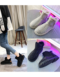 Fashion Black Mid-cut Rhinestone And Velvet Round Toe Snow Boots
