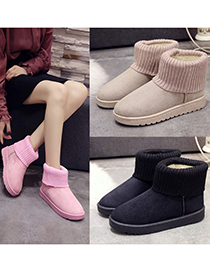 Fashion Black Flat Snow Boots With Wool And Velvet