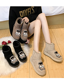 Fashion Khaki Bear Thick-soled Round Toe Waterproof And Velvet Snow Boots