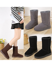 Fashion Brown Round Toe Flat Heel High-top Mid-tube Snow Boots