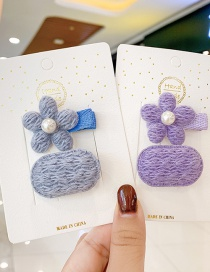 Fashion Purple Hairpin Childrens Hairpin Set With Flower Pearl Wool