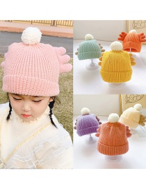 Fashion Orange Wings 0-6 Years Old One Size Ball Wool Knitted Childrens Wings Hat