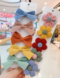 Fashion Yellow Bow + Yellow Flowers Small Flower Butterfly Combined With Gold Childrens Hairpin
