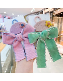 Fashion Orange Pink Bow [2-piece Set] Bowknot Childrens Fabric Hair Rope Hairpin
