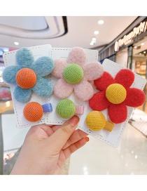 Fashion Caramel Flower [2-piece Set] Flower Plush Alloy Hit Color Children Hairpin