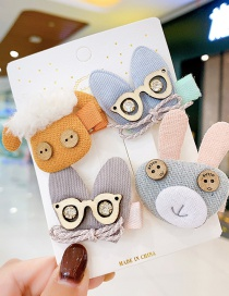 Fashion Light Blue Glasses Animal Color Contrast Fabric Alloy Childrens Hairpin Hair Rope