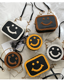 Fashion Horizontal Brown Round Smiley Face Plush Chain Crossbody Shoulder Bag