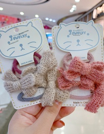 Fashion Gray 3-piece Set Bowknot Childrens Hair Rope Hairpin