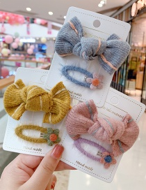 Fashion Gray Bow Hair Rope + Small Flower Hairpin Knitted Wool Bowknot Childrens Hairpin Hair Rope