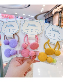 Fashion Pink Hairpin Hair Rope [3-piece Set] Round Button Fabric Alloy Childrens Hairpin Hair Rope