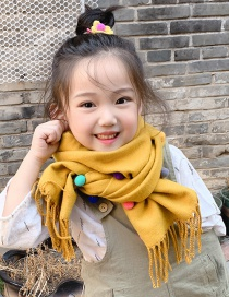 Fashion Gray Color Matching Is Recommended For About 2-12 Years Old Ball Tassel Thickened Double-sided Cashmere Childrens Scarf