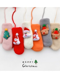Fashion Christmas Tree [pink] About 2-10 Years Old Christmas Hanging Neck Plush Snowman Elk Children Gloves