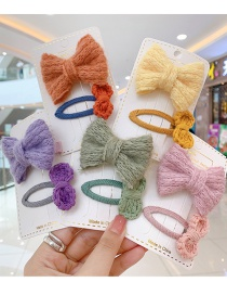 Fashion Yellow Bow [2 Piece Set] Bowknot Wool Alloy Childrens Hairpin