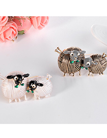 Fashion White Alloy Lamb Brooch